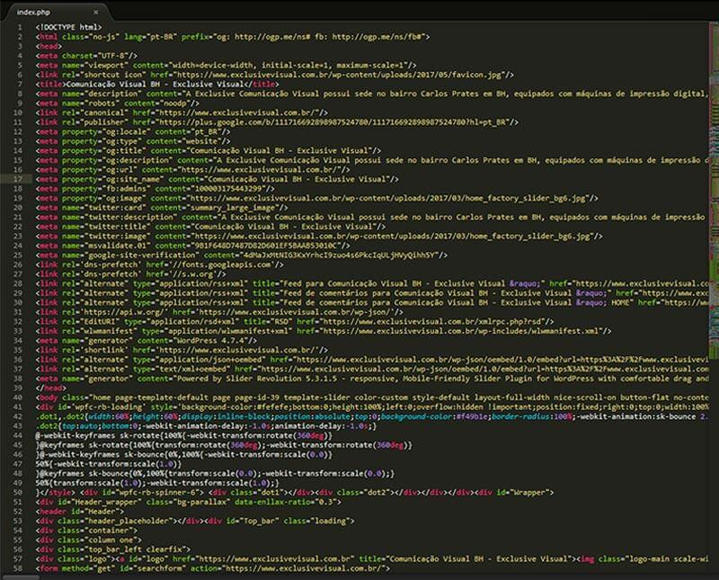 Manutenção de sites código